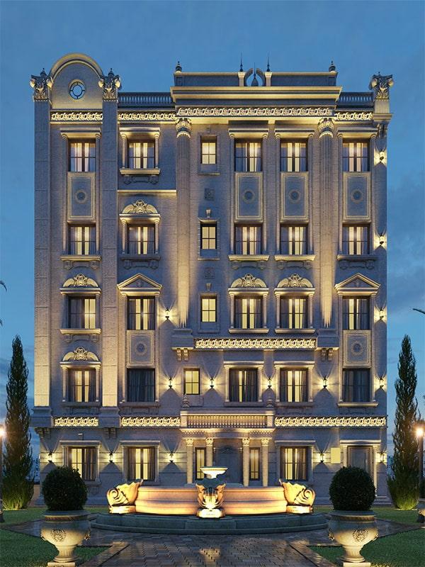 Classic facade design of the building