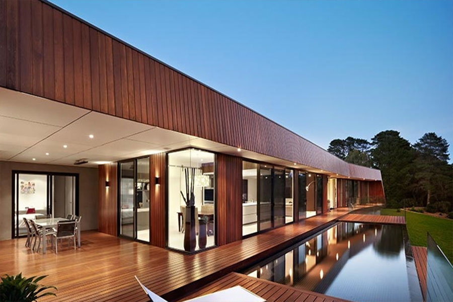 طراحی نمای ساختمان چوب