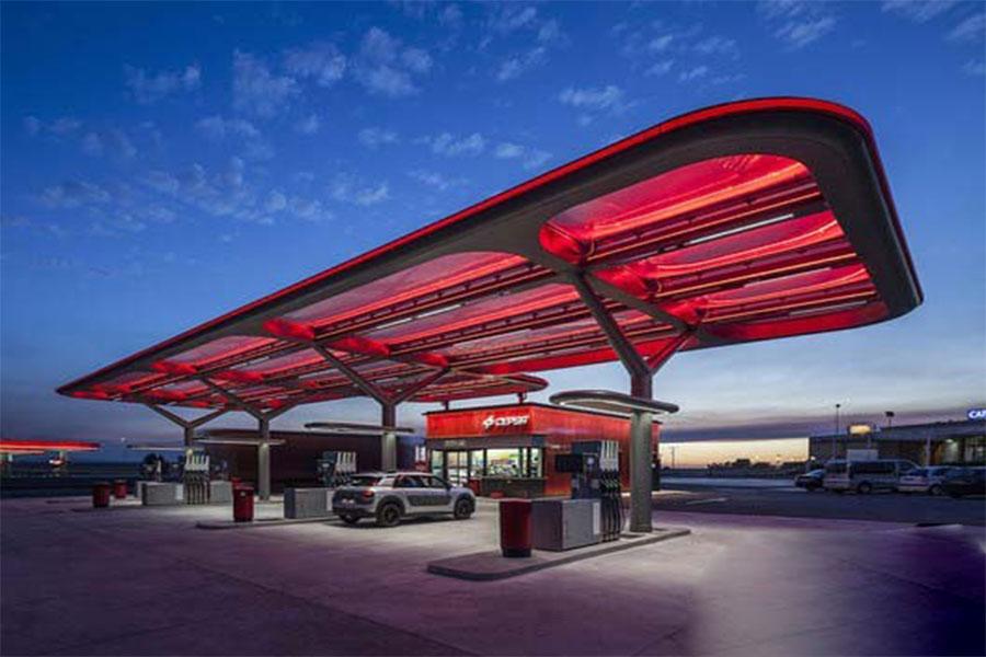 نمای کامپوزیت جایگاه پمپ بنزین