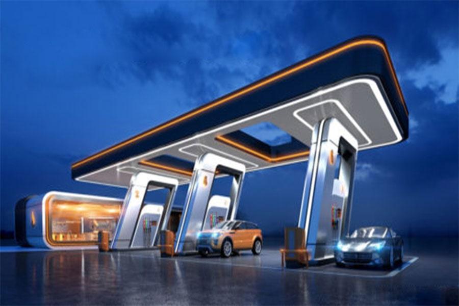 نمای جایگاه پمپ بنزین