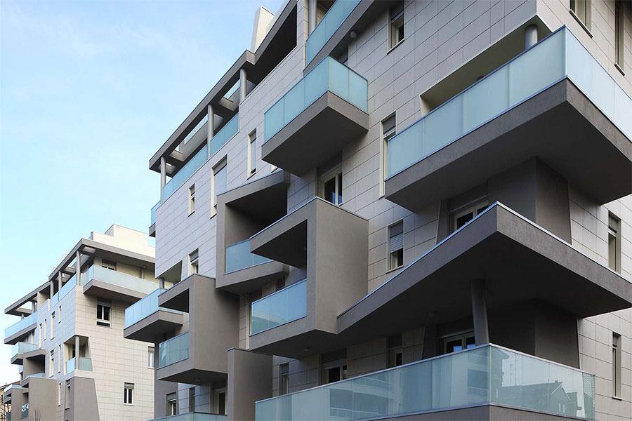 Modern facade of a residential building
