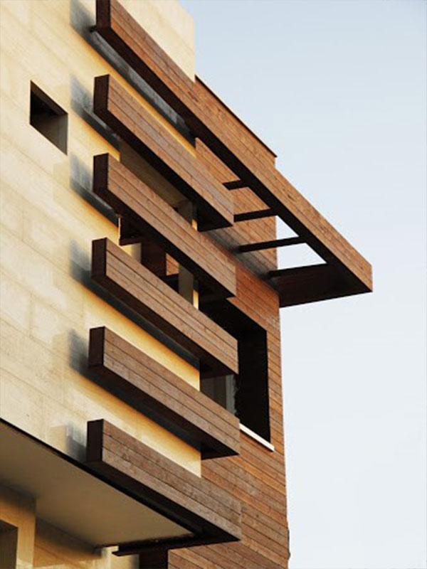 نمای چوبی ساختمان hpl