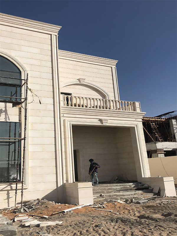 Execution of stone facade