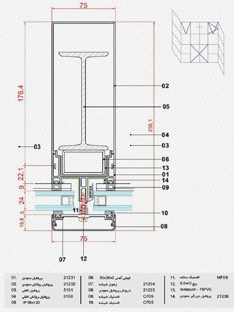 کرتین وال تقویت شده با فولاد
